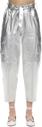 Simonetta Ravizza High Waist Nappa Leather Cargo Pants