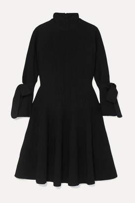 Carolina Herrera Bow-detailed Ribbed-knit Mini Dress - Black