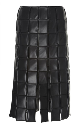 A.W.A.K.E. Mode Quilted Faux-Leather Midi Skirt