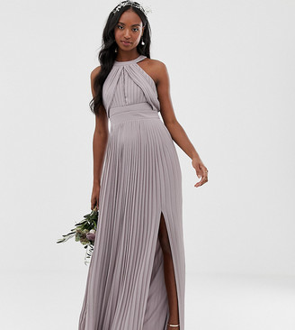 TFNC Tall bridesmaid exclusive pleated maxi dress in gray