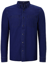 Denham Edged Cotton Shirt, Indigo