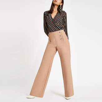 River Island Womens Brown stripe wrap front shoulder pad bodysuit