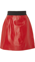Dolce & Gabbana Red Leather A-Line Mini Skirt