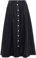 Thumbnail for your product : Ganni Studded Pleated Linen-gauze Midi Skirt