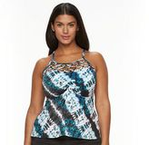 Apt. 9 Plus Size Tummy Slimmer Tie-Dye High-Neck Tankini Top