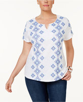 Charter Club Plus Size Cotton Embroidered T-Shirt, Only at Macy's