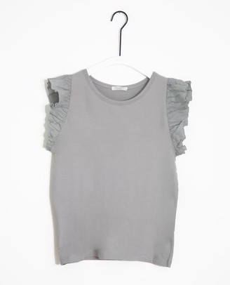 Beaumont Organic Zooey May Organic Cotton Linen Top In Dove - Dove / Extra Small