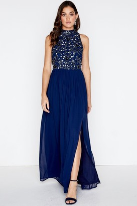 Little Mistress Ellie High Neck Maxi Dress With Hand-Embellishment