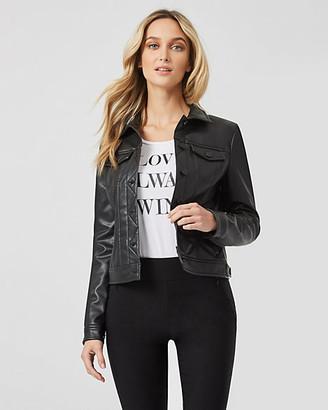 Le Château Faux Leather Button Front Jacket