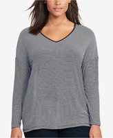 Lauren Ralph Lauren Plus Size Long-Sleeve V-Neck T-Shirt