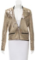 Maje Leather-Trimmed Sequin Jacket