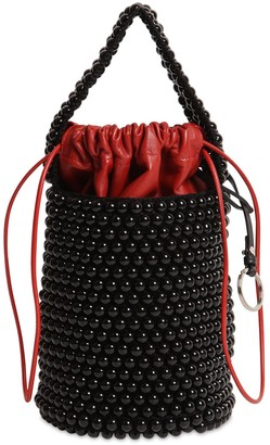 Jil Sander Bead & Leather Bucket Bag