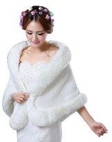 Diandiai Women's Bridal Faux Fur Jacket Wrap Winter Warm Faux Fur Shawl (One-size, )