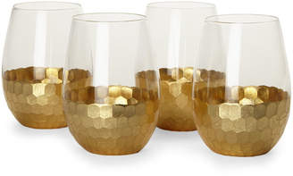 Fitz & Floyd 4-Piece Gold Daphne Stemless Goblet Set
