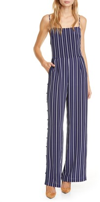 L'Agence Finley Side Button Stripe Silk Jumpsuit