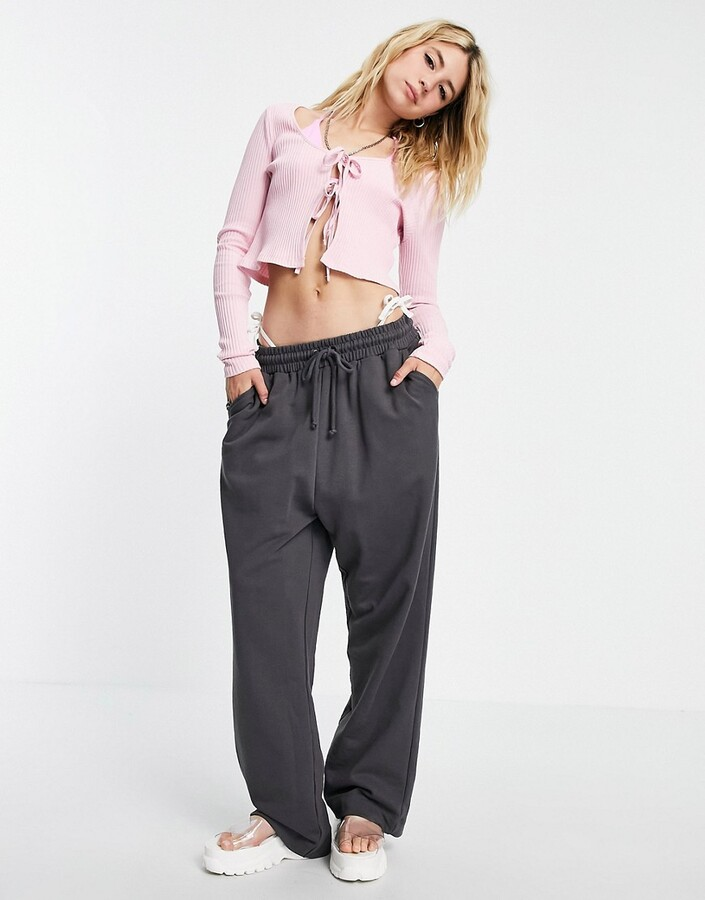 Thumbnail for your product : Weekday Tie organic cotton cardigan with tie front in pink