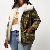 River Island Womens Plus green camo faux fur trim jacket