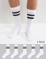 Asos Branded Sports Style Socks In Monochrome With Stripes 5 Pack