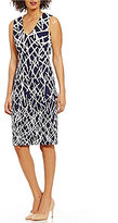 Adrianna Papell Midi-Length V-Neck Crepe Scuba Printed Sheath Dress
