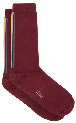 Paul Smith Artist-stripe Intarsia Stretch-cotton Socks - Burgundy