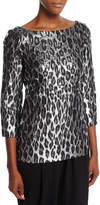 Michael Kors Metallic Leopard Brocade Boat-Neck Top