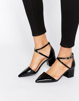 Avia RAID Black Croc Point Mid Heeled Shoes