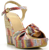 Stuart Weitzman HaveKnot - Multi Colored Canvas Knotted Wedge Espadrille
