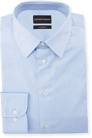Emporio Armani Men's Modern-Fit Cotton-Stretch Dress Shirt, Blue