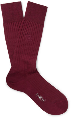 JAMES PURDEY & SONS Featherburst Embroidered Ribbed Merino Wool-Blend Socks