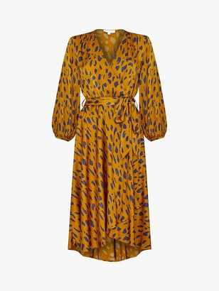 Ghost Aggie Giraffe Print Satin Tie Waist Wrap Dress, Brown