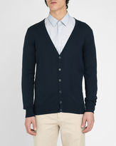 M.STUDIO Damien navy cardigan in cotton jersey