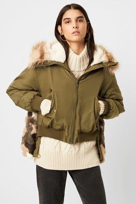 French Connenction Colleen Camo Faux Fur Aviator Jacket