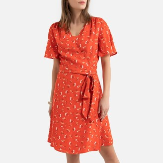 La Redoute Collections Floral Mini Wrapover Dress with Short Sleeves and Tie-Waist