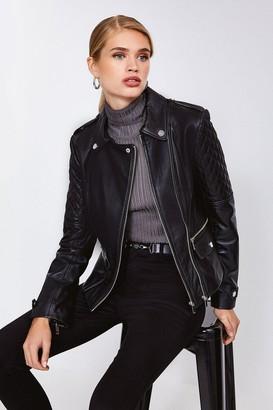 Karen Millen Leather Quilted Patch Biker Jacket