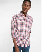 Express soft wash check print long sleeve shirt