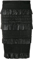 Drome ruffle panel pencil skirt - women - Lamb Skin/Polyester/Viscose - S