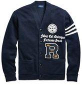 Ralph Lauren The Iconic Collegiate Cardigan Navy W/ Grey Stripe Xs