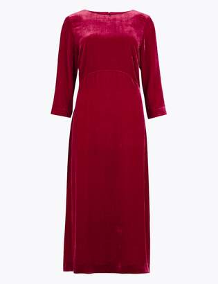 AutographMarks and Spencer Velvet Fit & Flare Midi Dress with Silk