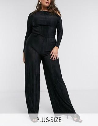 Club L London Plus plisse wide leg trousers in black