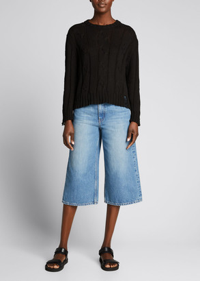 Christina Lehr Suss Distressed Cable-Knit Sweater