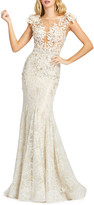 Mac Duggal Cap Sleeve Floral Lace Trumpet Gown