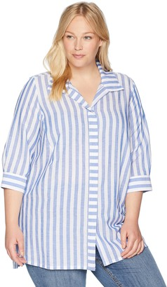 Foxcroft Women's Plus Size Skye Soft Stripe Tunic