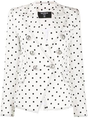Balmain Polka-Dot Double-Breasted Blazer
