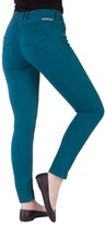 Amethyst Jeans Teal High-Waist Triple-Button Jeggings