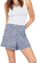 Miss Selfridge Print Crochet Hem Shorts, Blue/Multi