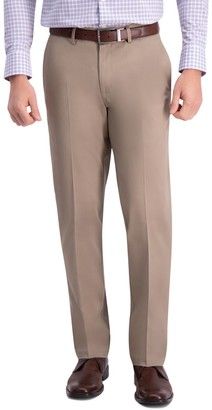Haggar Men's Iron Free Premium Khaki Slim-Straight Fit Flat Front Perfect Fit Waistband Casual Pant