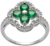 Sterling Silver Diamond Accent & Simulated Emerald 4-Leaf Clover Ring