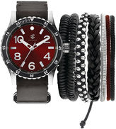 Rocawear Men's Black And Red Stackable Bracelet Strap Watch Set Rmst5188S328-085