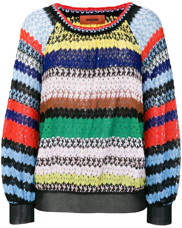 Missoni striped crochet-knit sweater