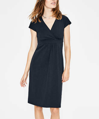 Boden Women's Casual Dresses DNV - Dark Navy Casual Jersey Surplice Dress - Women, Women's Tall & Petite